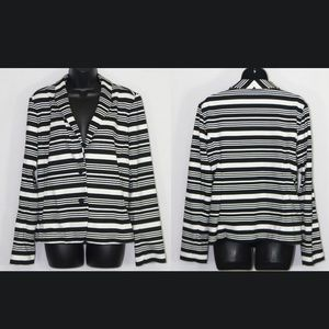 LOFT | Striped Knit Blazer Black White 14 Career L
